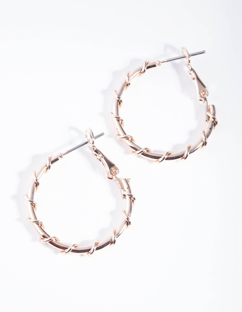 Rose Gold Metal Wrapped Hoop Earrings