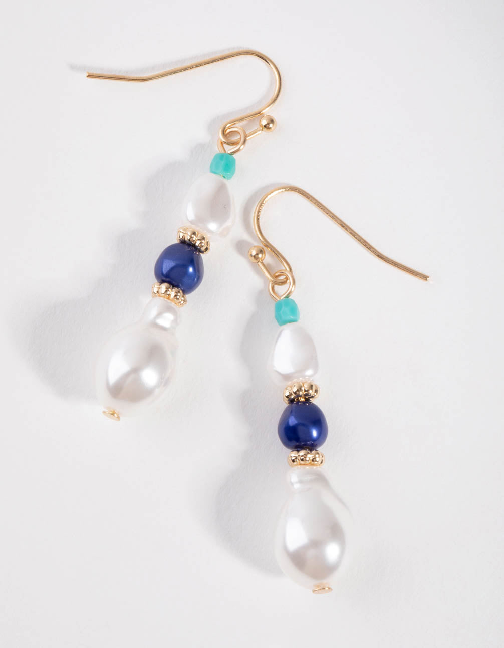 Gold Faux Pearl and Bead Drop Earrings