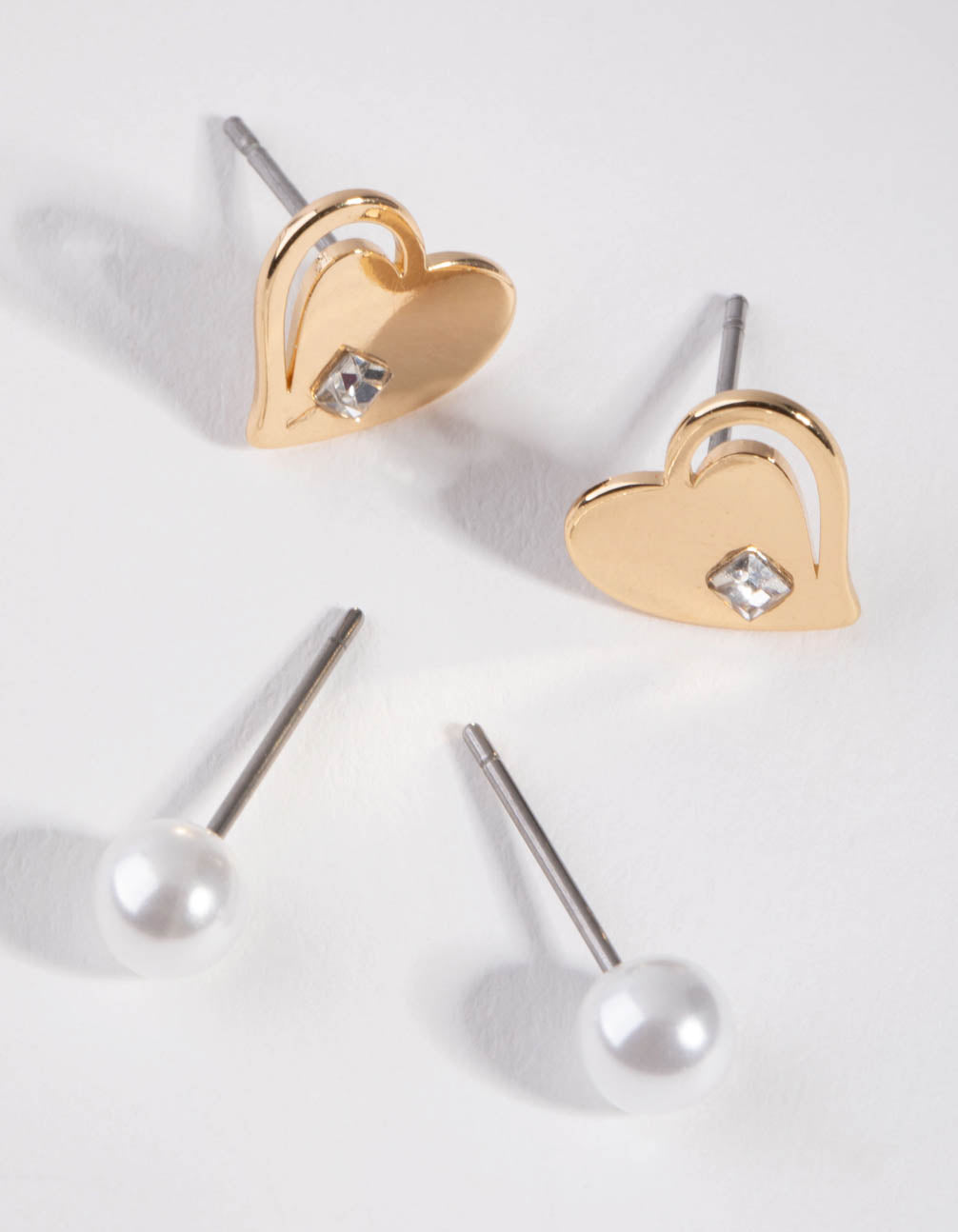 Gold Pearl and Heart 2-Pack Earring