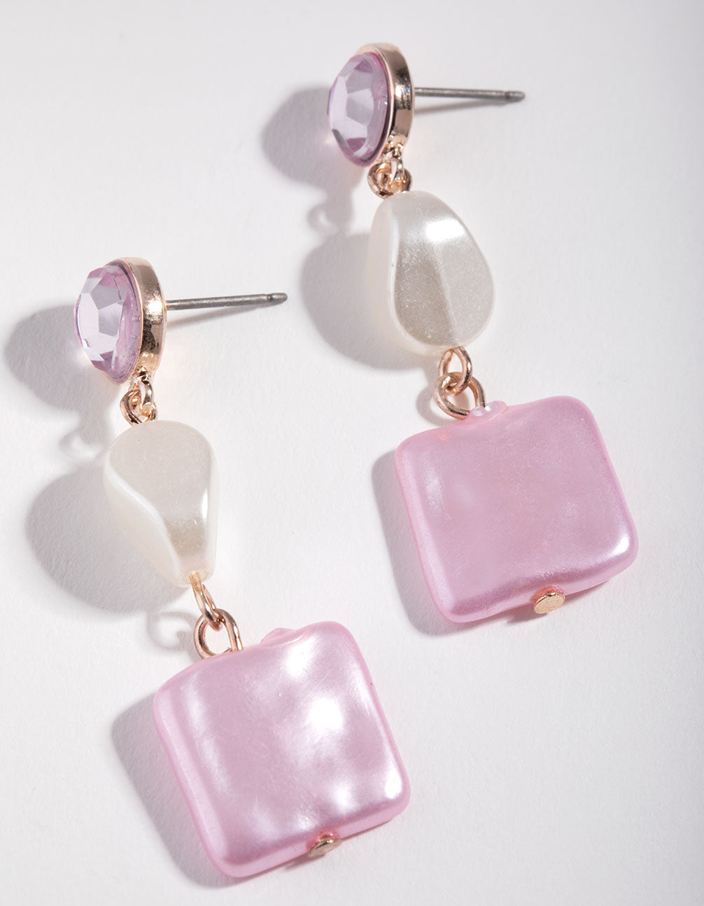 Rose Gold Square Faux Pearl Drop Earrings