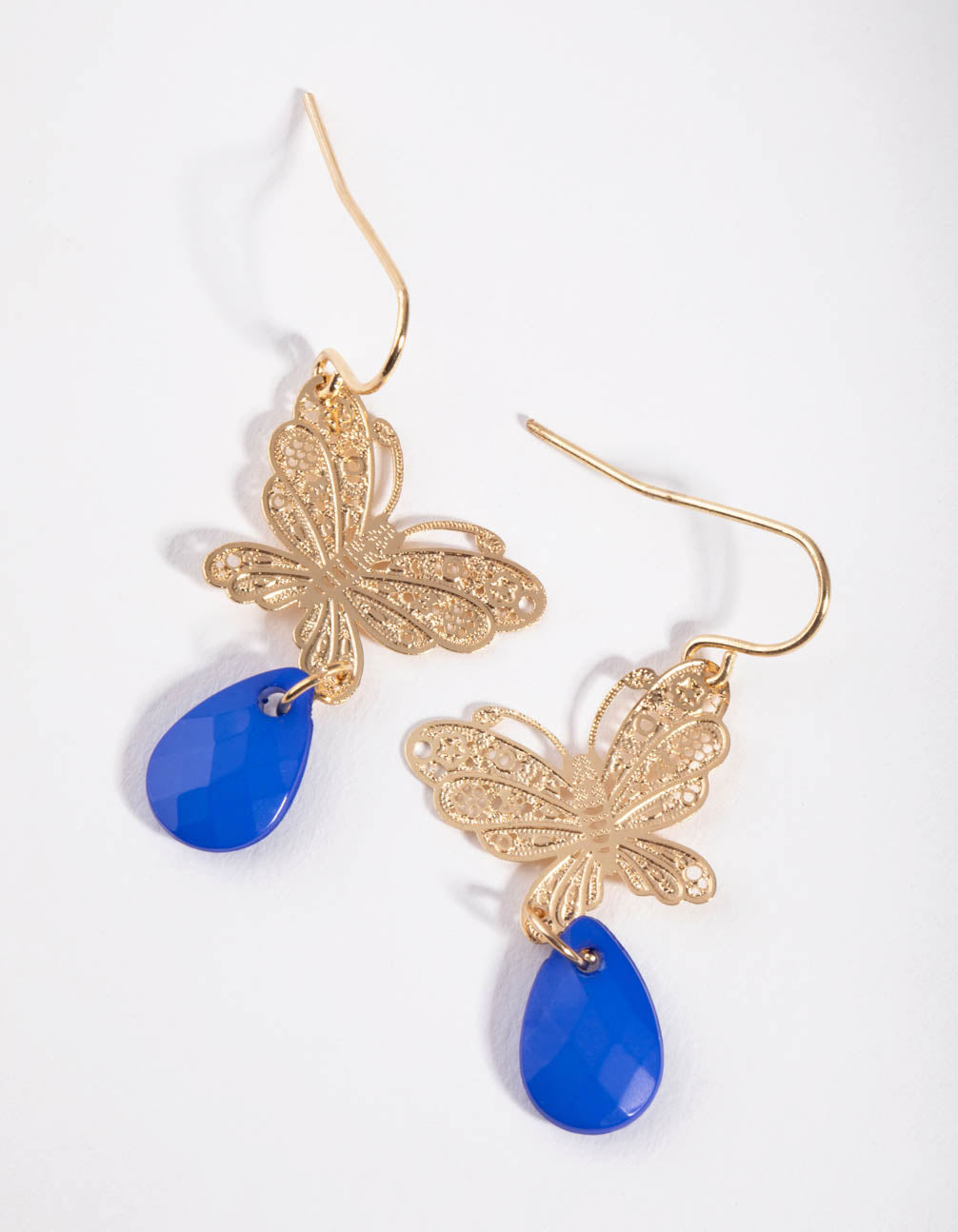 Gold Butterfly Bead Drop Earrings