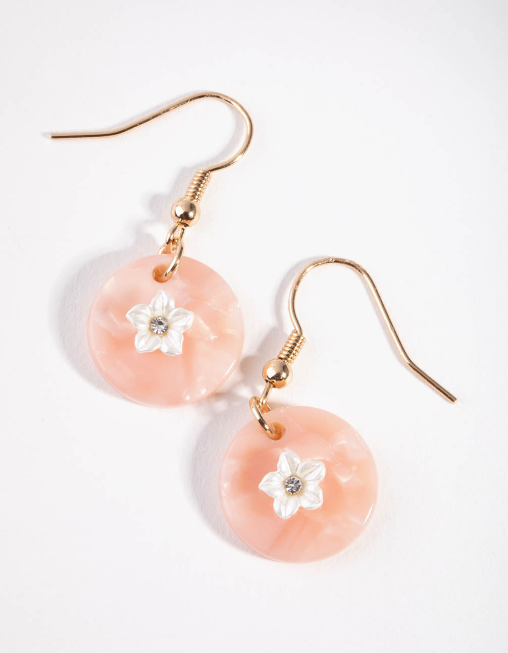 Gold Flower Acrylic Disc Drop Earrings