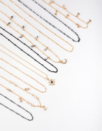 Mixed Metals Celestial 9-pack Choker Necklace - link has visual effect only