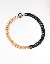 Mixed Metals Gold & Matte Chain T&O Necklace - link has visual effect only