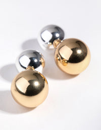Real Gold and Silver Plated Jacket Ball Earrings - link has visual effect only