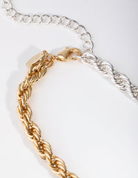Real Gold and Silver Plated 45cm Rope Necklace - link has visual effect only