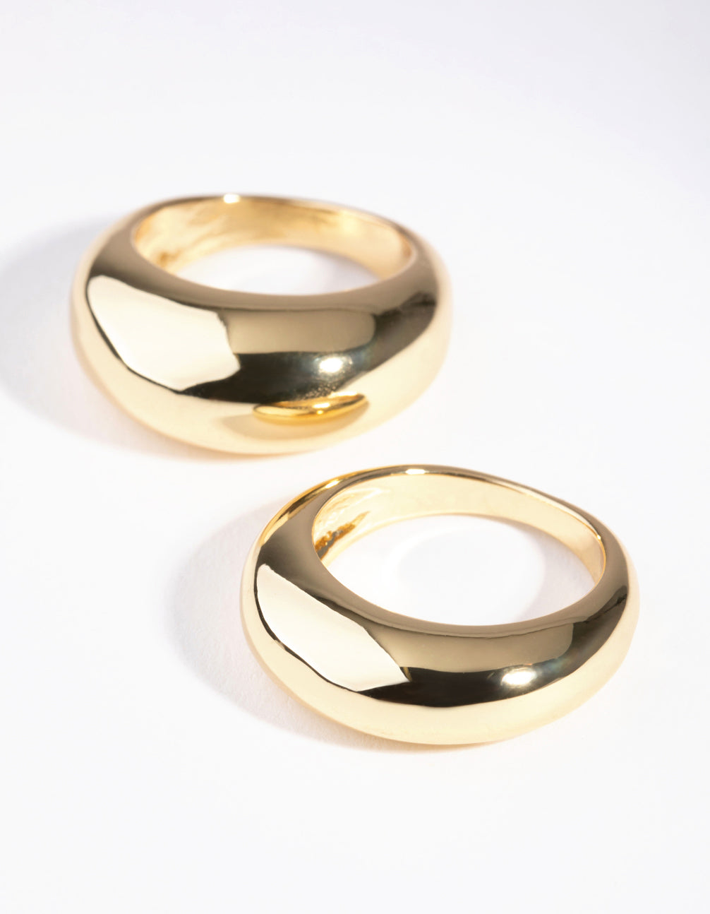 Gold Small and Big Dome 2-Pack Rings