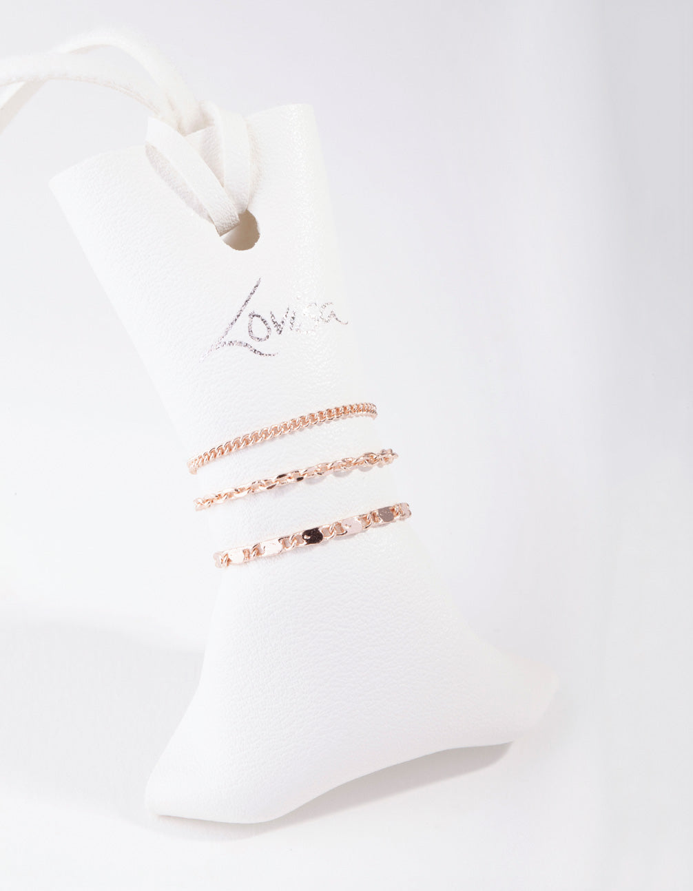 Rose Gold Simple Mixed Chain 3-Pack Rings