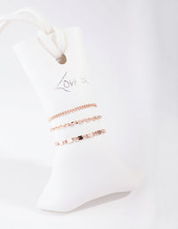 Rose Gold Simple Mixed Chain 3-Pack Rings - link has visual effect only