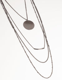 Matte Long Fine Chain 4-Row Necklace - link has visual effect only