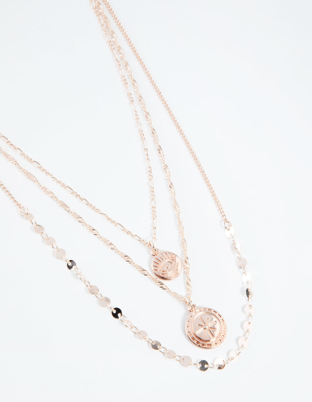 Rose Gold Short Eye and Coin 3-Row Necklace