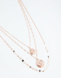Rose Gold Short Eye and Coin 3-Row Necklace - link has visual effect only