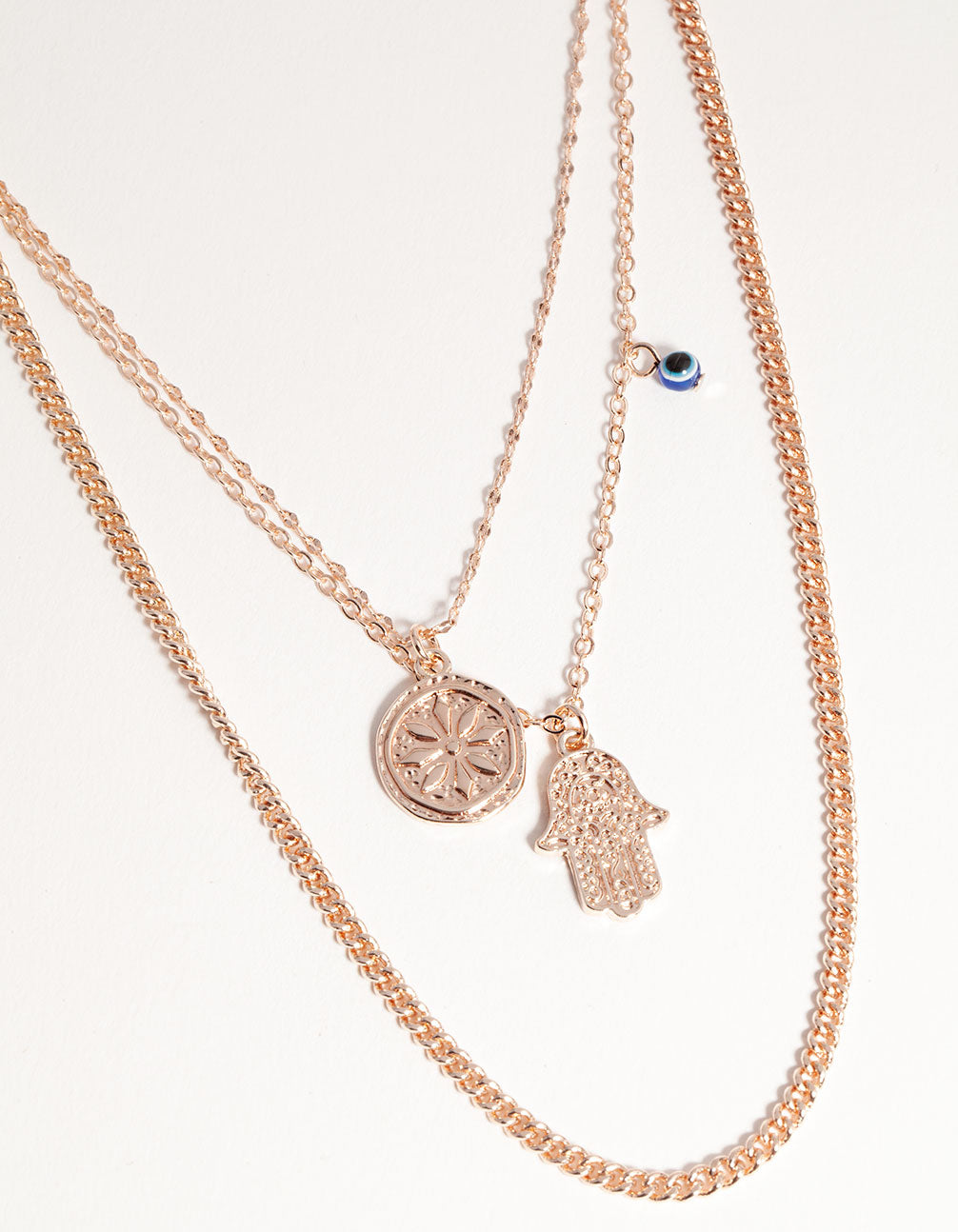 Rose Gold Short Hand & Coin 3-Row Necklace