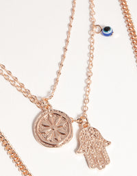 Rose Gold Short Hand & Coin 3-Row Necklace - link has visual effect only