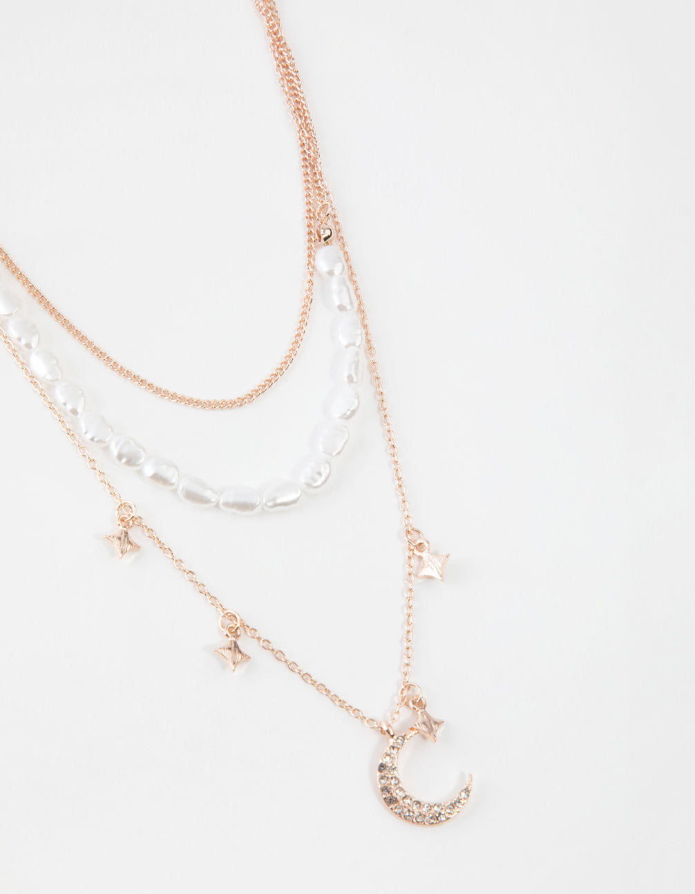 Rose Gold Short Diamante Moon 3-Row Necklace