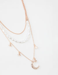 Rose Gold Short Diamante Moon 3-Row Necklace - link has visual effect only