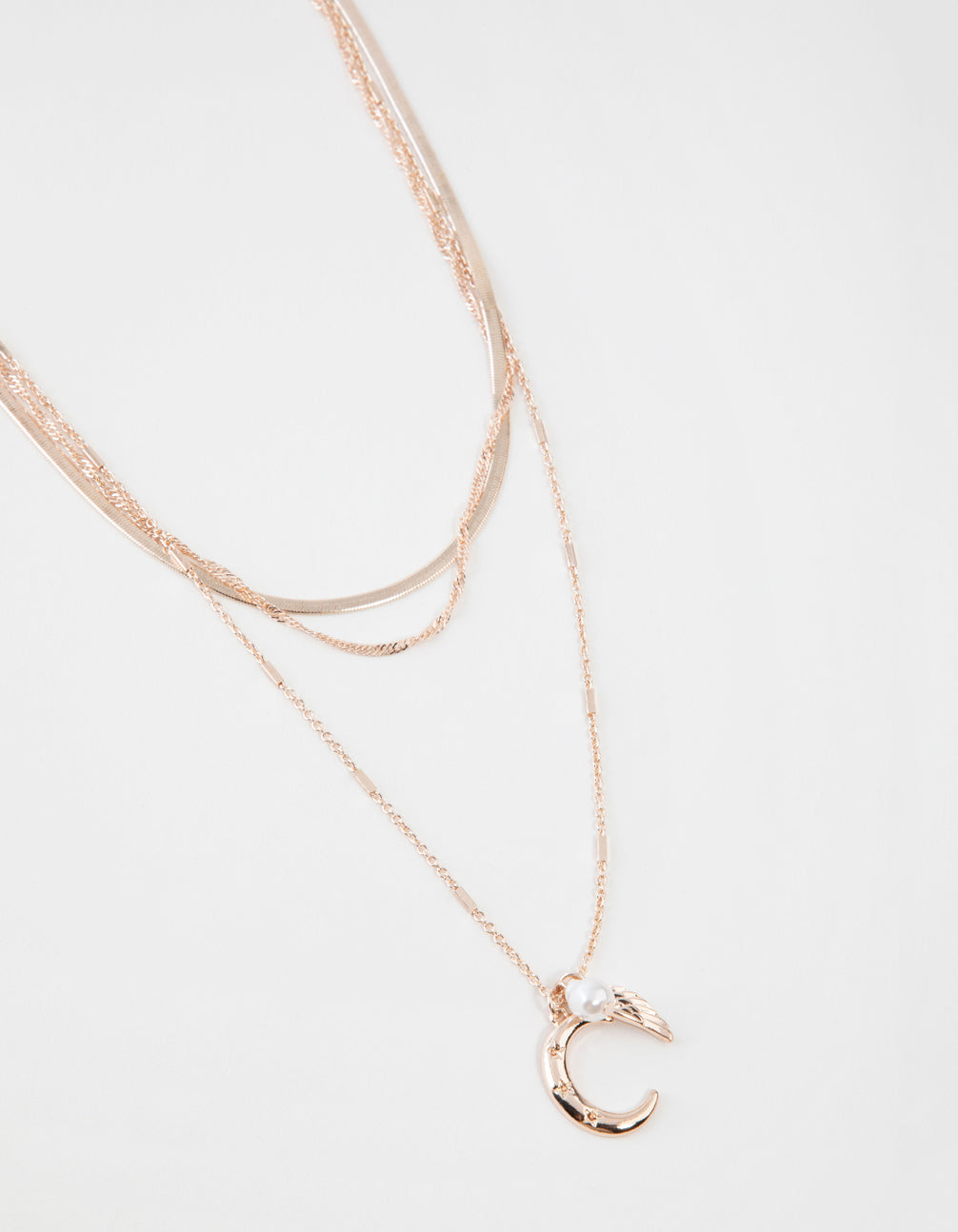 Rose Gold Short Celestial 3-Row Necklace