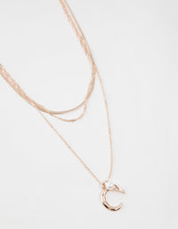 Rose Gold Short Celestial 3-Row Necklace - link has visual effect only