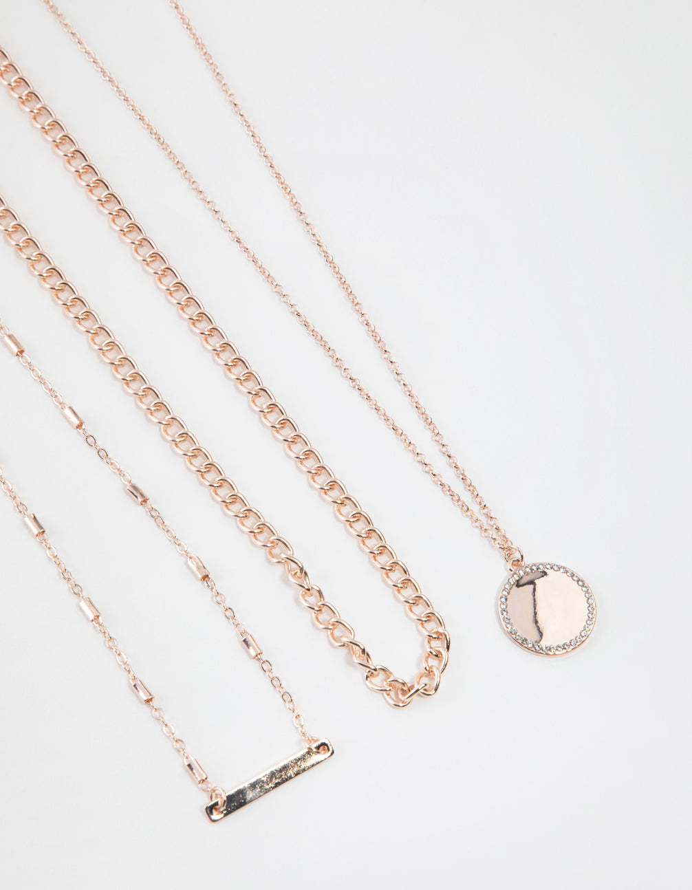 Rose Gold Short Fine Layered Chain Necklace