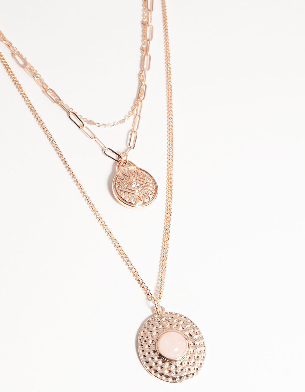 Rose Gold Short Eye Disc 3-Row Necklace