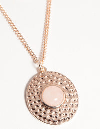 Rose Gold Short Eye Disc 3-Row Necklace - link has visual effect only