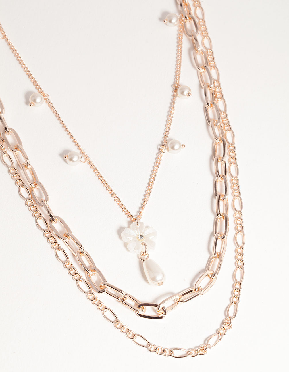 Rose Gold Short Flower Pearl 3-Row Necklace