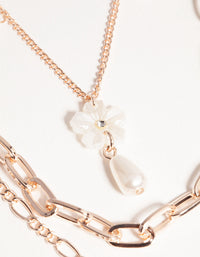 Rose Gold Short Flower Pearl 3-Row Necklace - link has visual effect only