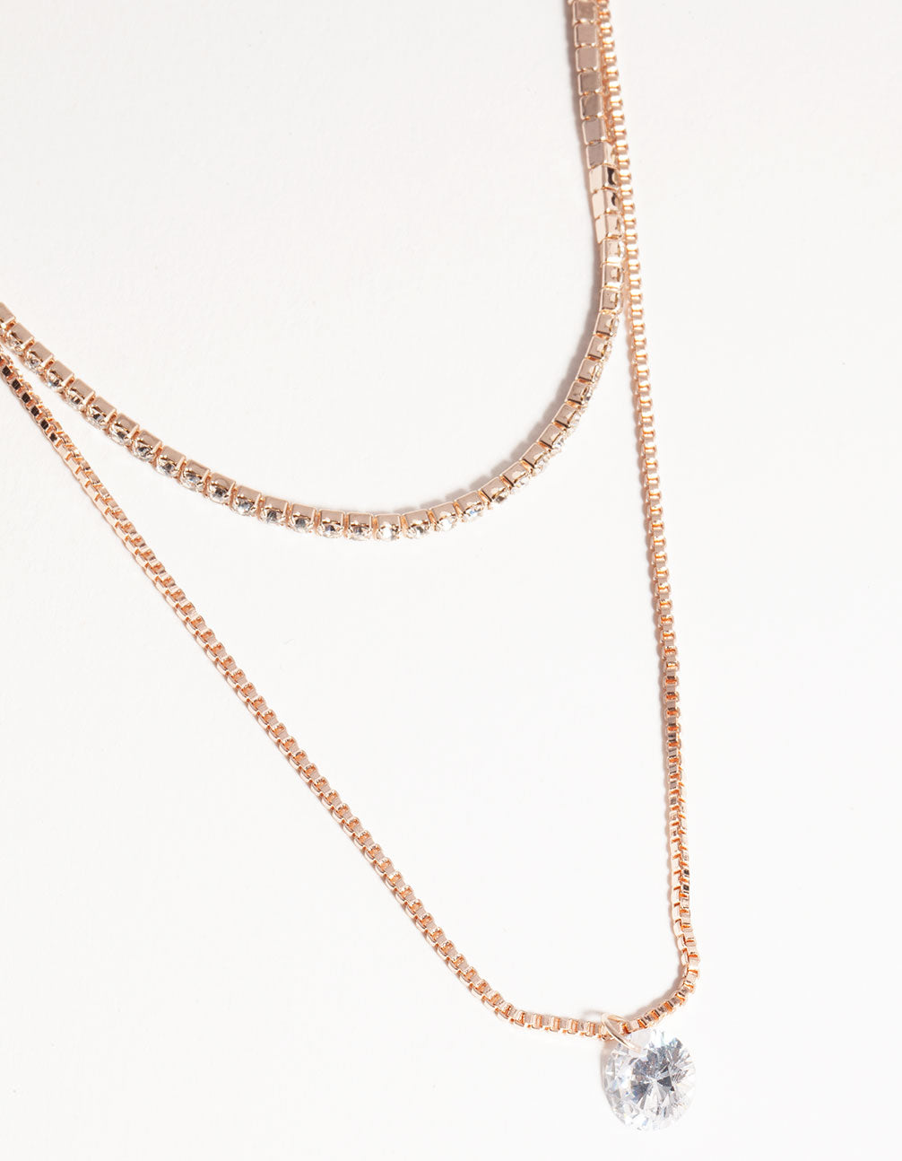 Rose Gold Short 2-Row Cupchain Diamante Necklace