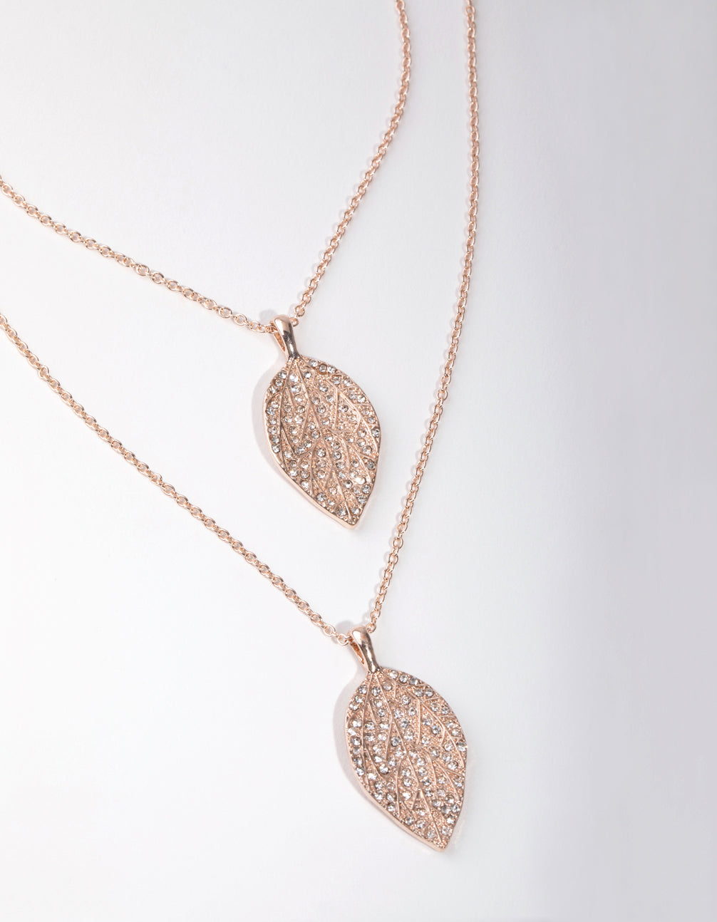 Rose Gold Long Diamante Leaf 2-Row Necklace