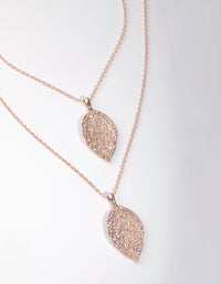 Rose Gold Long Diamante Leaf 2-Row Necklace - link has visual effect only