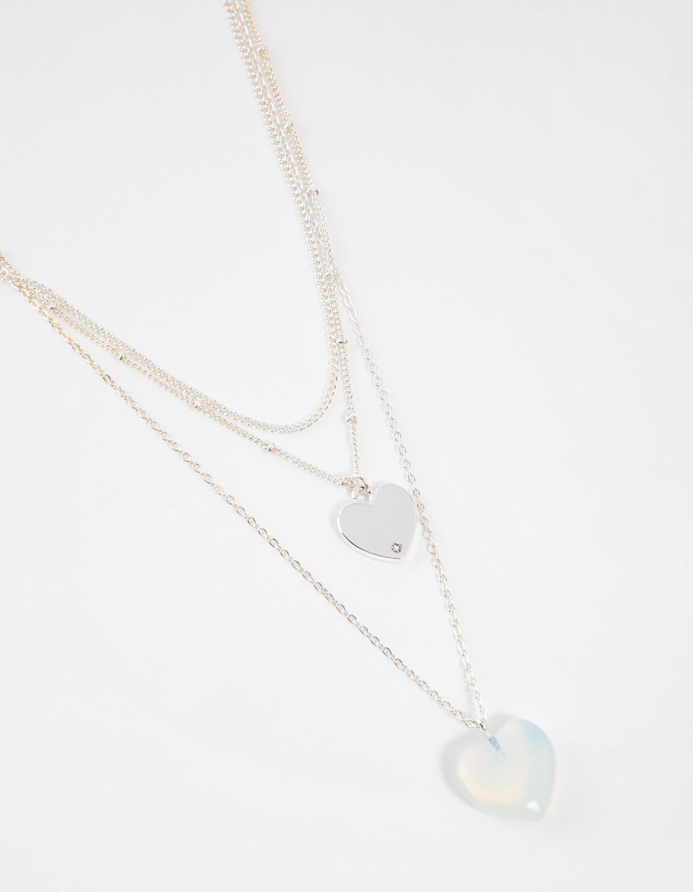 Silver Short Heart 3-Row Necklace