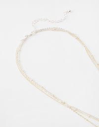 Silver Short Heart 3-Row Necklace - link has visual effect only