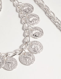 Silver Long Coin 3-Row Necklace - link has visual effect only