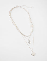 Silver Short 3-Row Sun Necklace - link has visual effect only