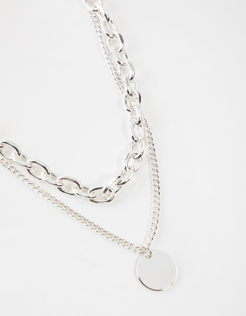 Silver Mid Chain & Pendant Necklace