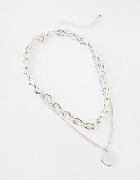 Silver Mid Chain & Pendant Necklace - link has visual effect only