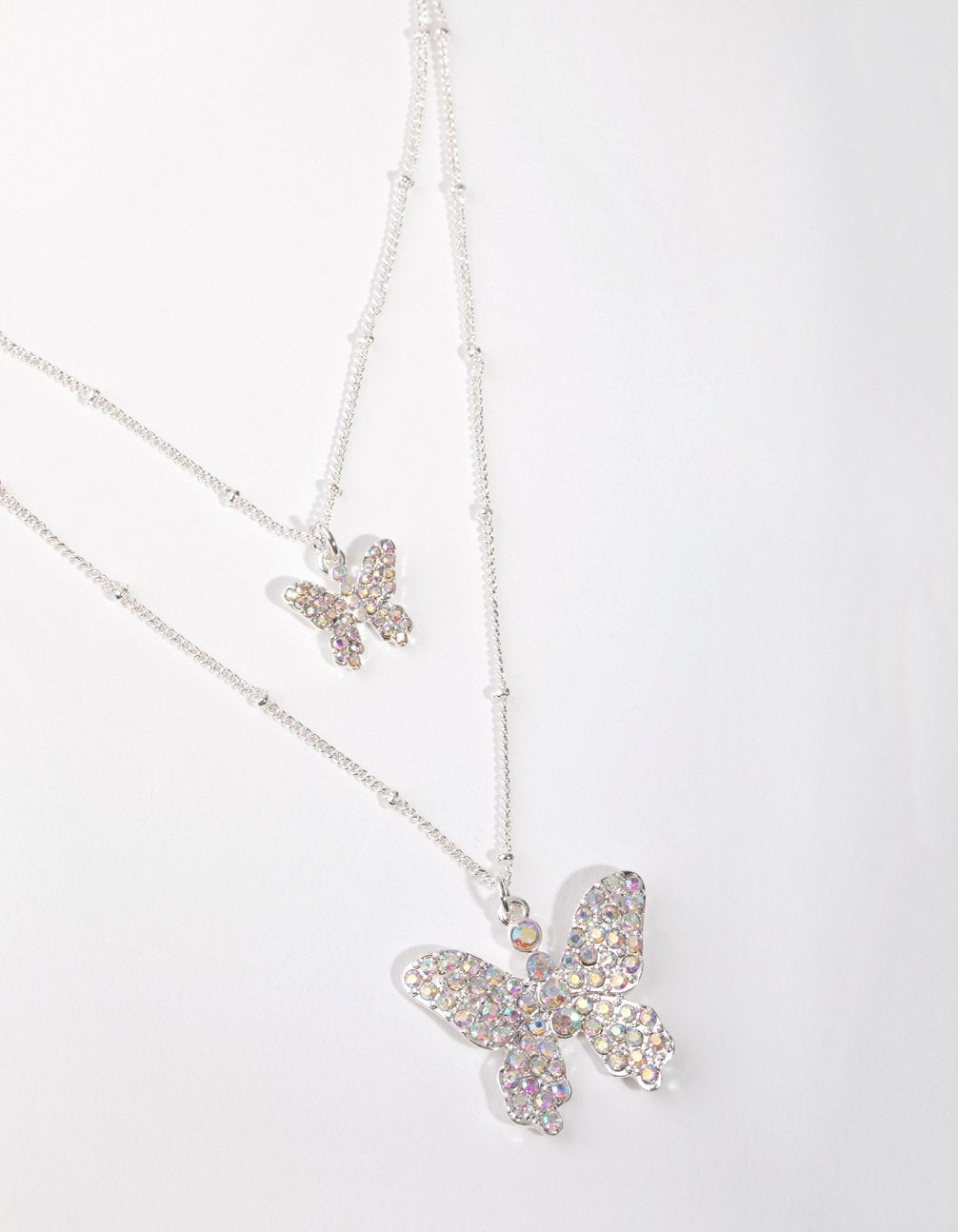 Silver Pave Butterfly 2-Row Necklace