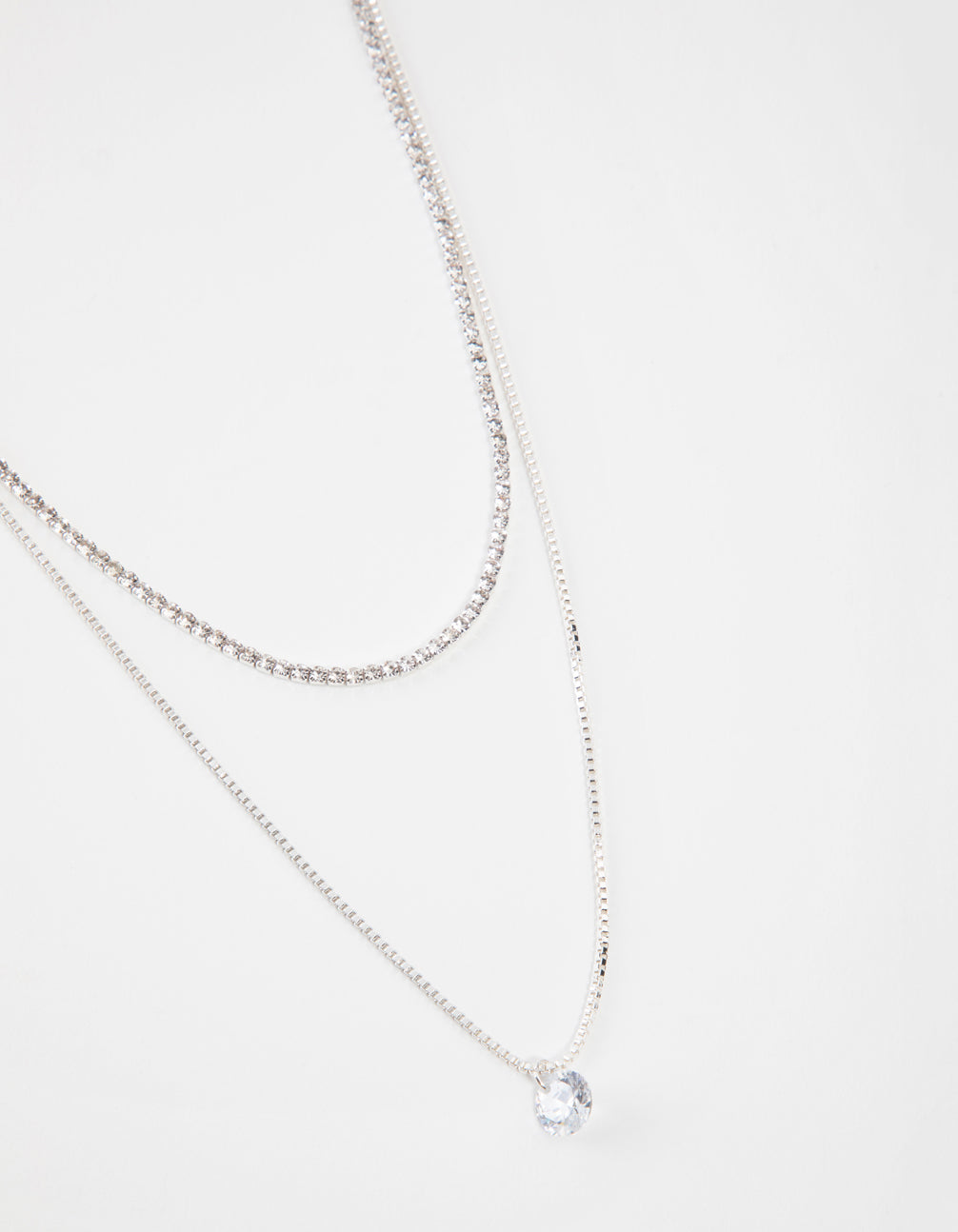 Silver Short 2-Row Cupchain Diamante Necklace