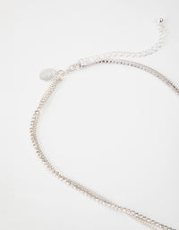 Silver Short 2-Row Cupchain Diamante Necklace - link has visual effect only