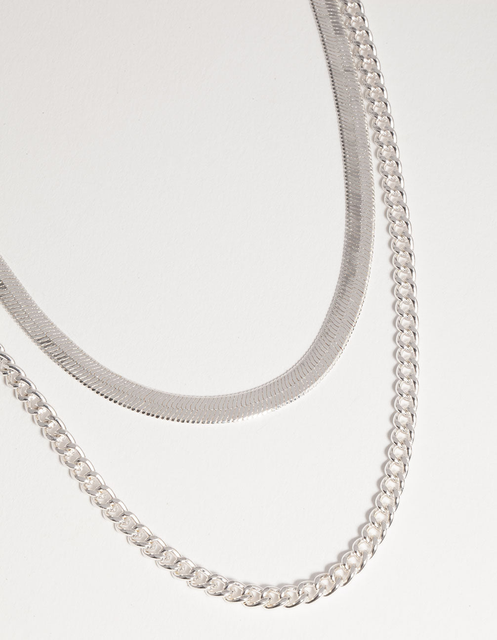 Silver Short Chain 2-Row Neclace