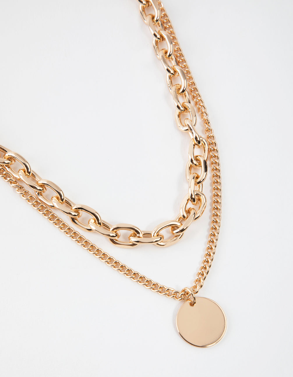 Gold Mid Chain & Pendant Necklace