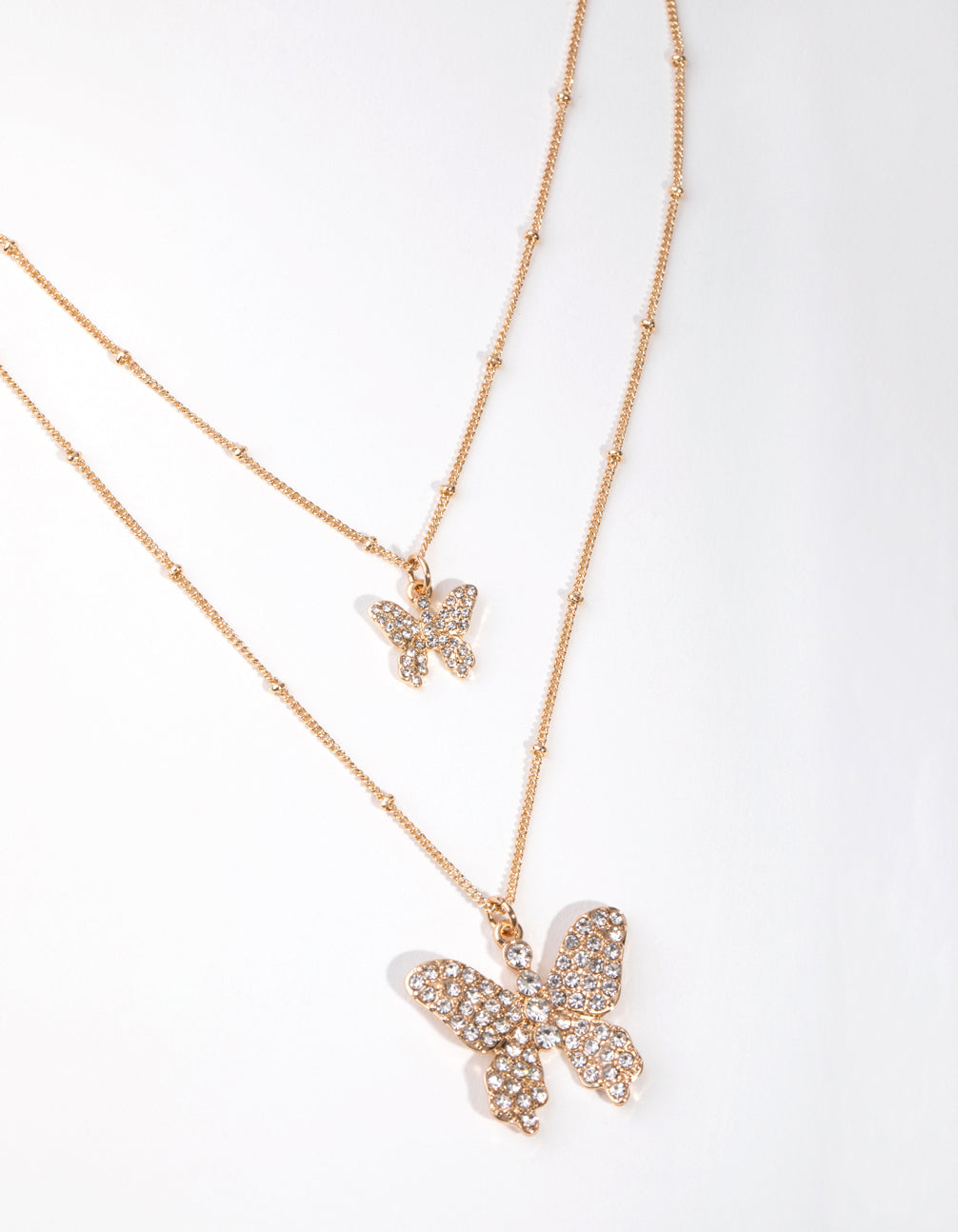 Gold Pave Butterfly 2-Row Necklace