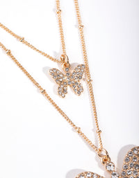 Gold Pave Butterfly 2-Row Necklace - link has visual effect only