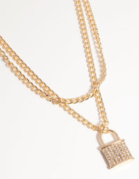 Gold Multi-Row Diamante Padlock Necklace - link has visual effect only