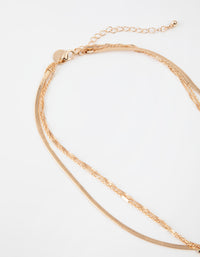 Gold Short Celestial 3-Row Necklace - link has visual effect only