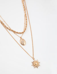 Gold Short 3-Row Sun Necklace - link has visual effect only