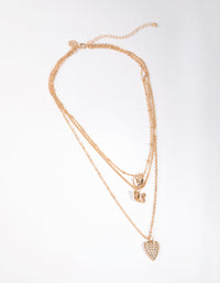 Gold Short Diamante Heart 3-Row Necklace - link has visual effect only