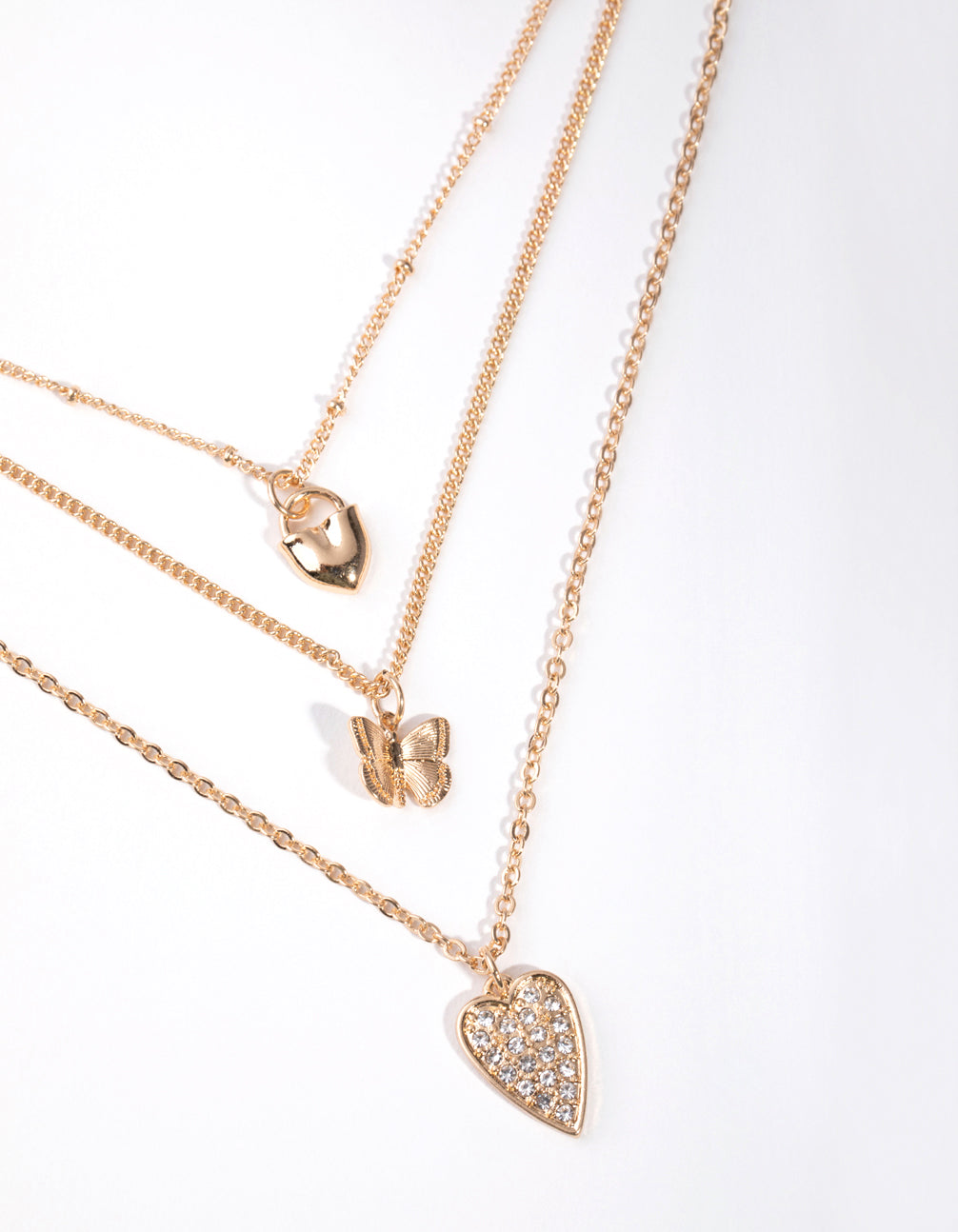 Gold Short Diamante Heart 3-Row Necklace
