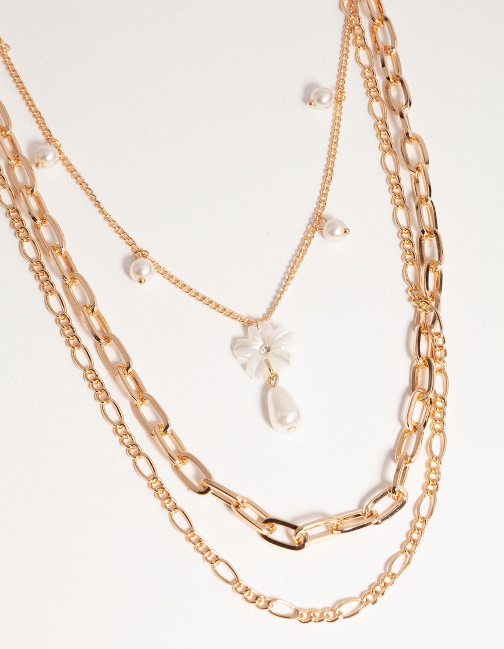 Gold Short Flower Pearl 3-Row Necklace