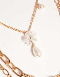 Gold Short Flower Pearl 3-Row Necklace - link has visual effect only